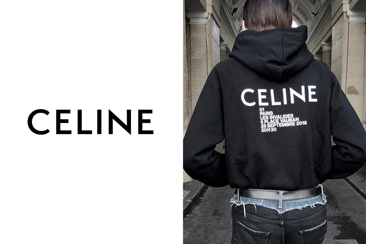 celine hedi slimane new hoodie logo fw18