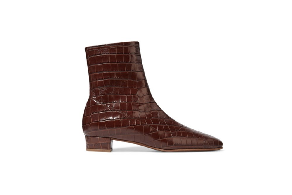 By Far Este Croc-Effect Leather Ankle Boots