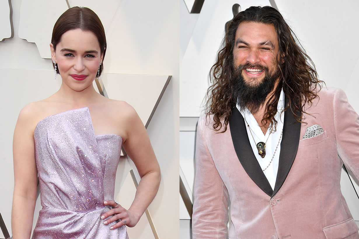 Jason Momoa Emilia Clarke meet in Oscars 2019