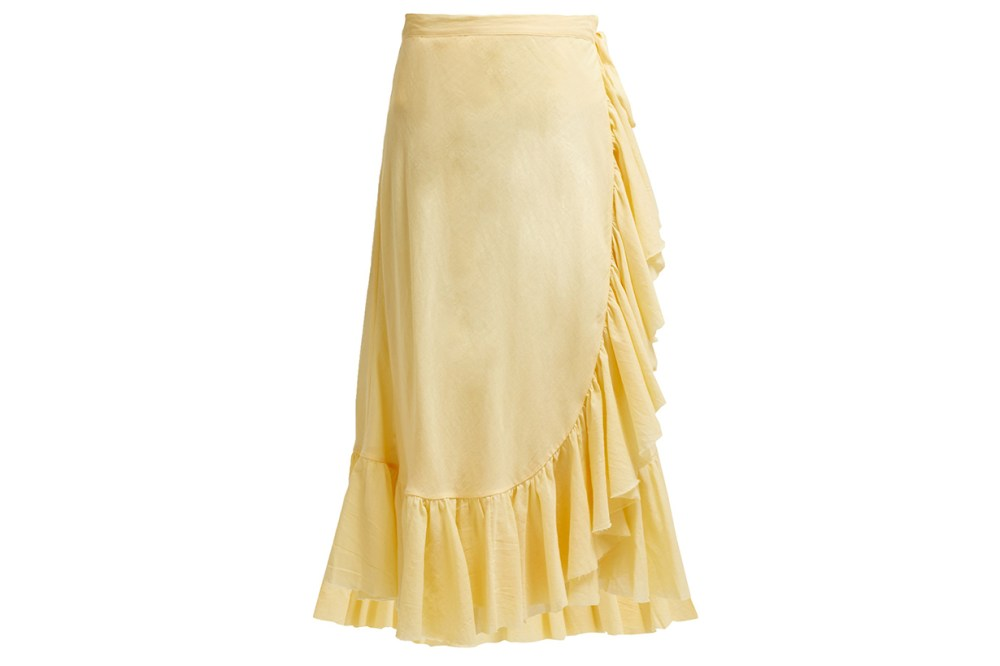Loup Charmant Ruffle-Trim Cotton Midi Skirt
