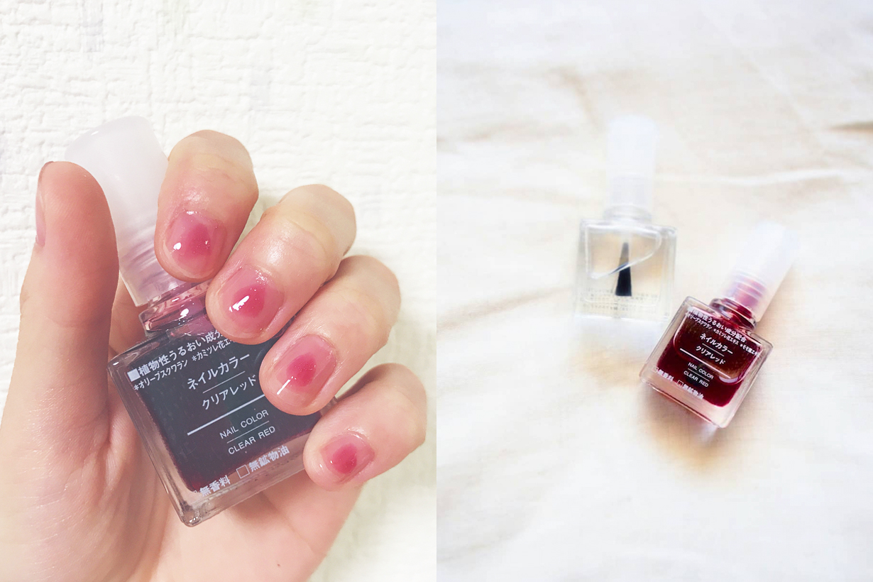Muji Japan Wine Red Nail Color polish Clear Red Transparent nail colour japanese girls must buy items DIY manicure nail arts beauty products