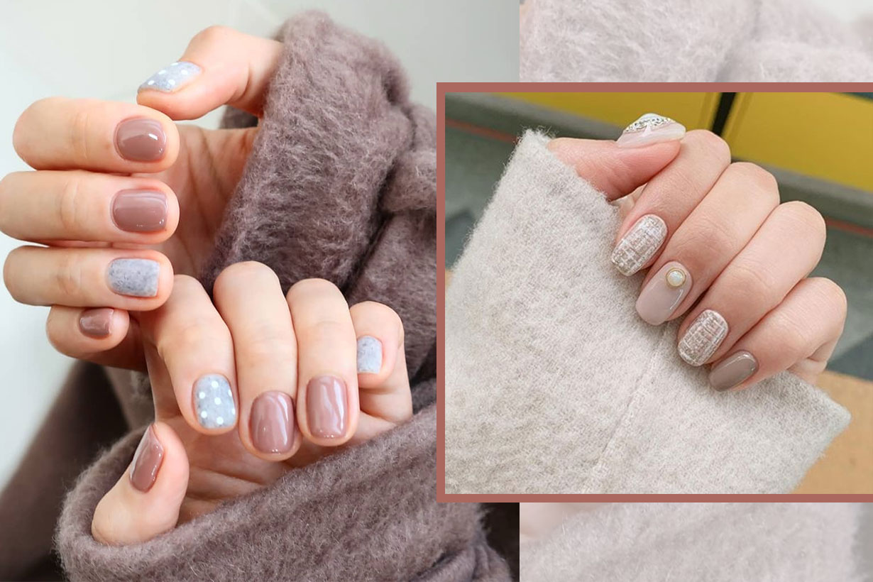 Nail color ideas grey and earth tone 2019