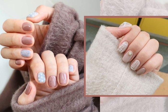讓手指高貴起來!亞洲女孩最應嘗試「棕色+冷灰」混色美甲
