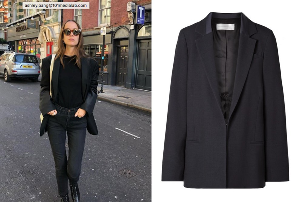 All Black Blazer Victoria Beckham Satin-Trimmed Wool-Blend Piqué Blazer