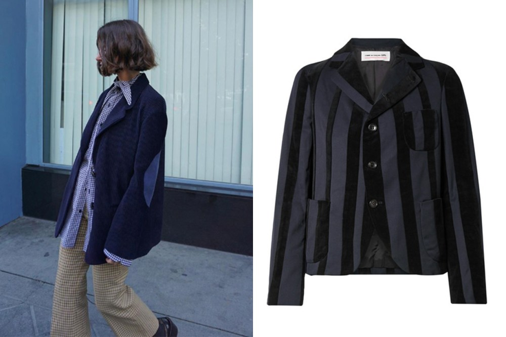 Comme Des Garcons GIRL Striped Wool-Blend and Velvet Blazer