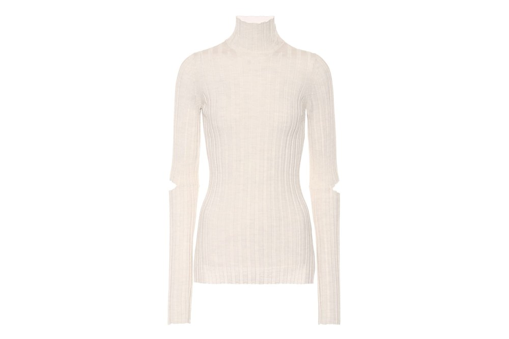 Helmut Lang Ribbed Turtleneck Wool Sweater