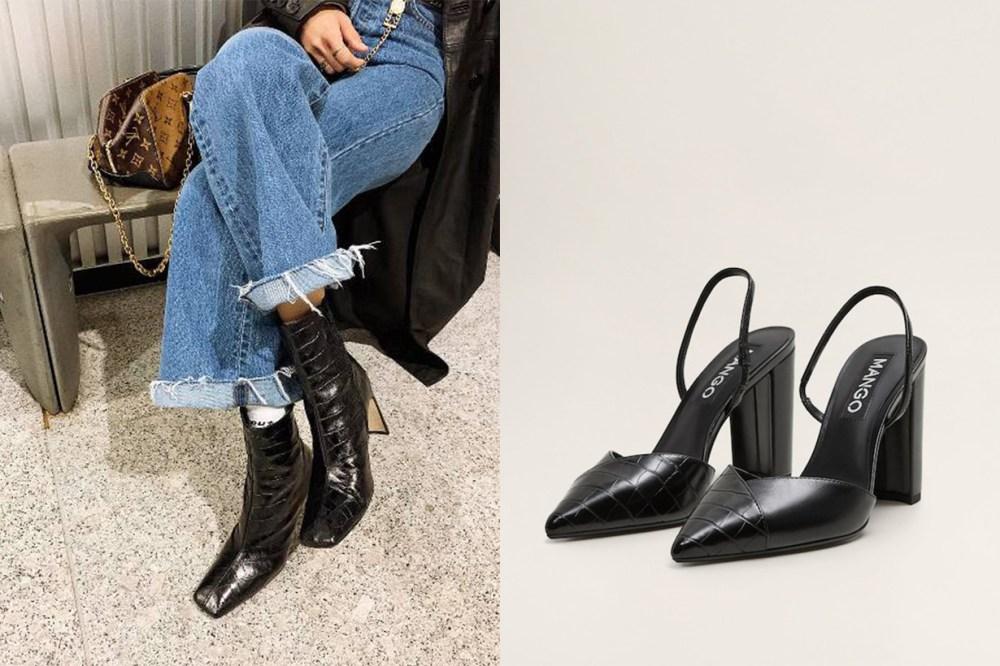 Mango Shoe Tip Croc-Effect