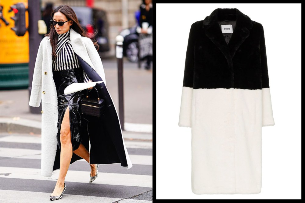 Black and white coat street style