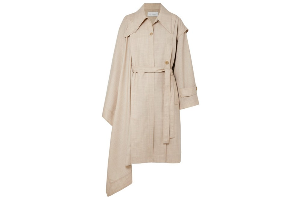 Low Classic Unbalance Asymmetric Draped Wool-Voile Trench Coat