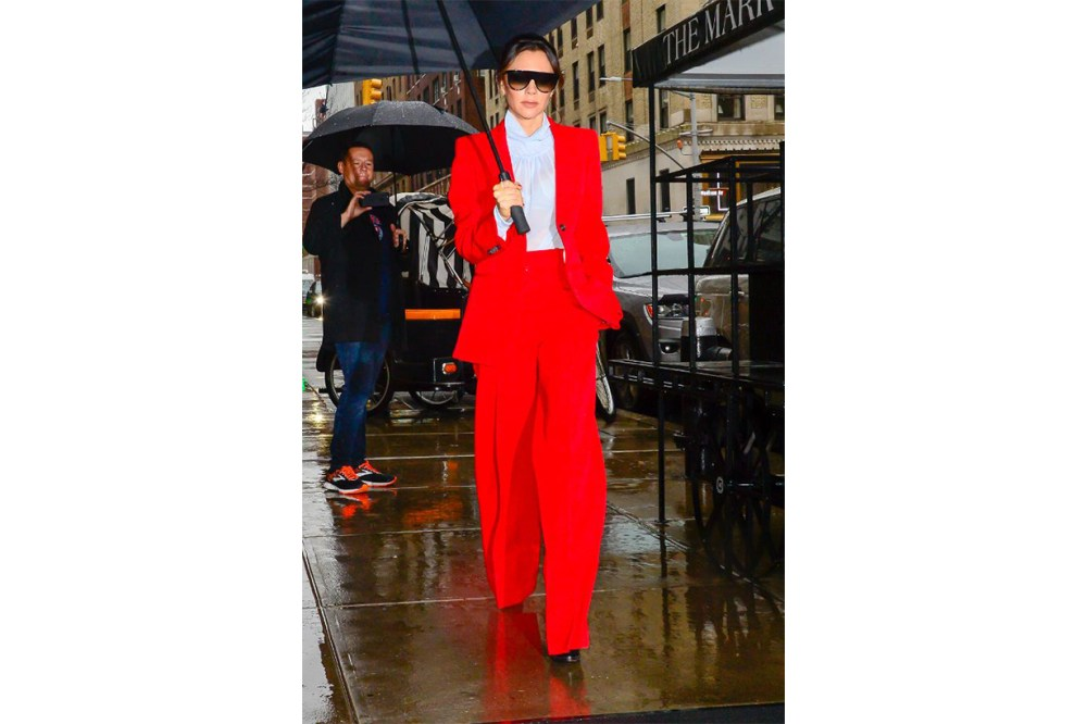 Victoria Beckham Red Suit Street Style