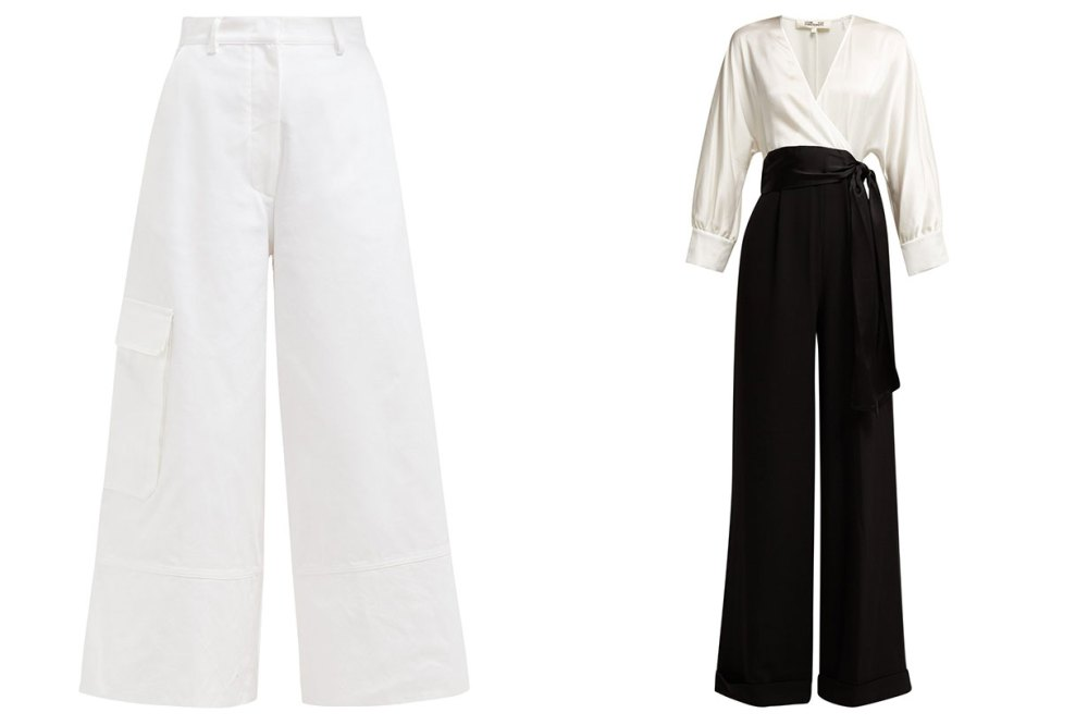 black and white wide leg pants