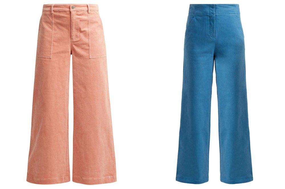 coloured wide-leg pants