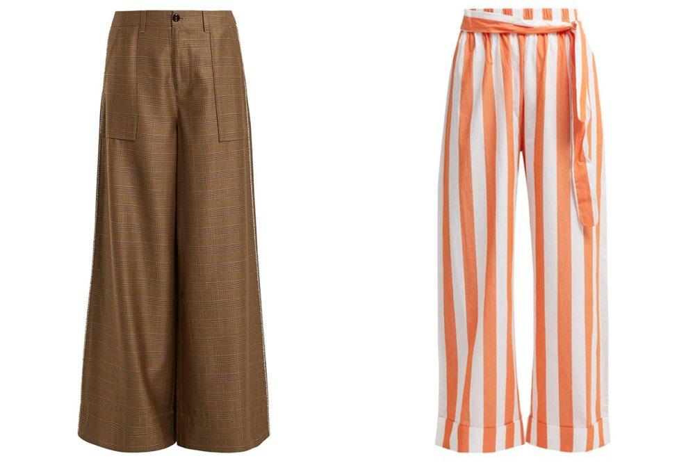 pattern wide leg pants