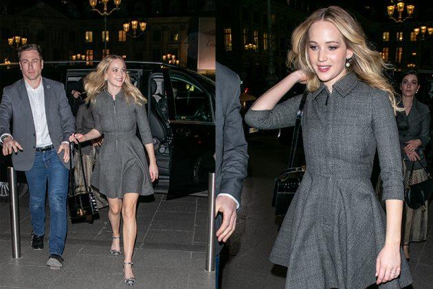 Jennifer Lawrence Engagement Diamond Ring Dior Cara Front Row