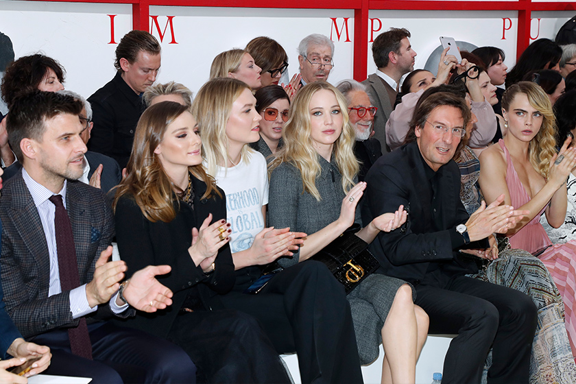 Jennifer Lawrence Engagement Diamond Ring Dior Cara Front Row