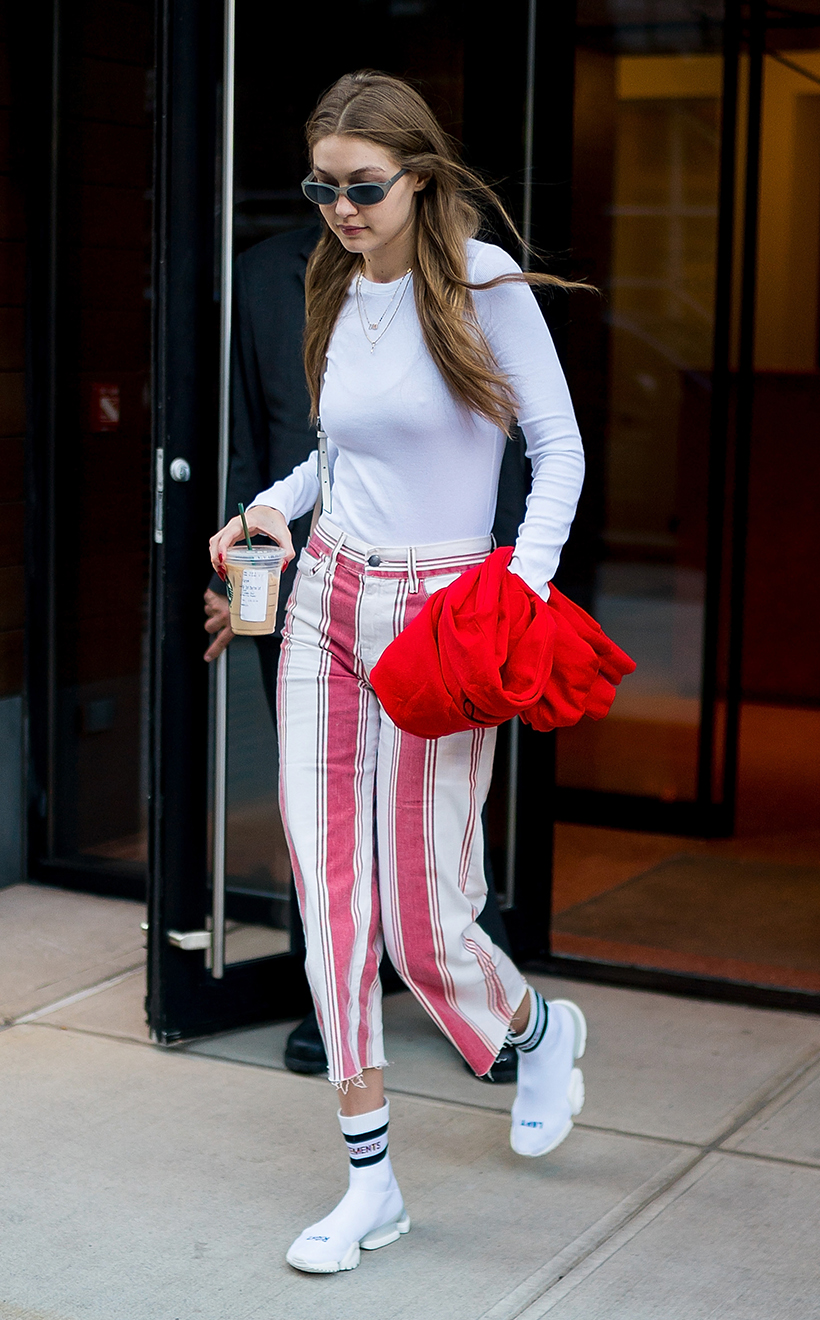 Celebrities Street Snap White Sneakers Style Trend