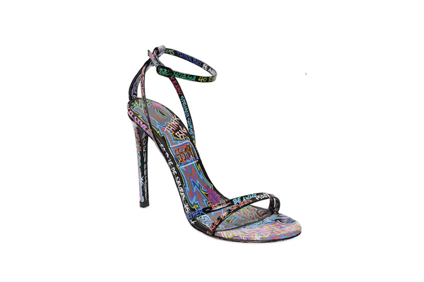 Balenciaga 110MM Graffiti Print Leather Sandals