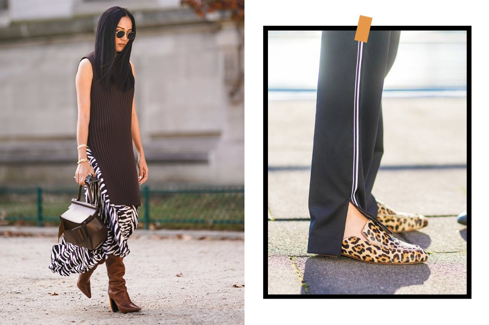 Zebra Prints Dress Leopard Prints Shoes Street Style