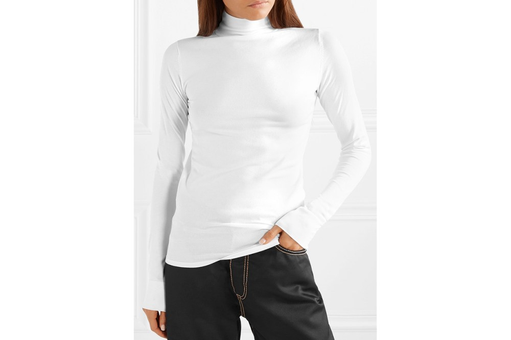 LES RÊVERIES Stretch-knit turtleneck top