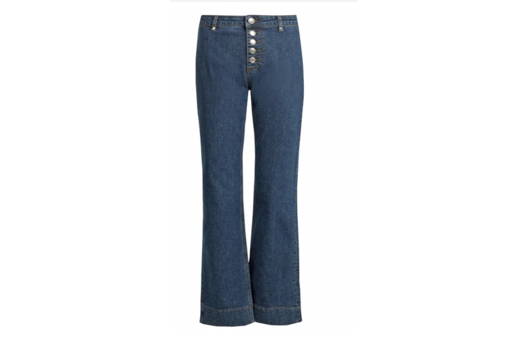 Alexa Chung Exposed-button Kick-flare Cropped Jeans