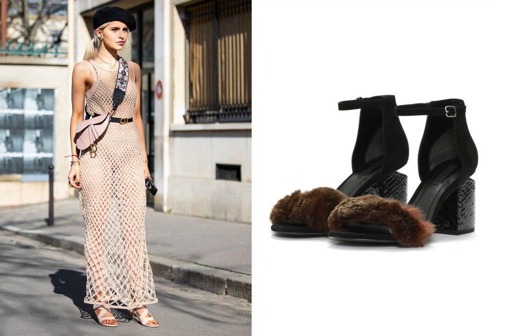 Alexander Wang Abby Fur Mid-heel Sandals