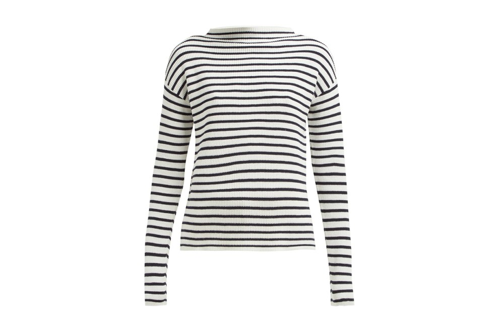Allude Boat-Neck Striped Cotton Sweater