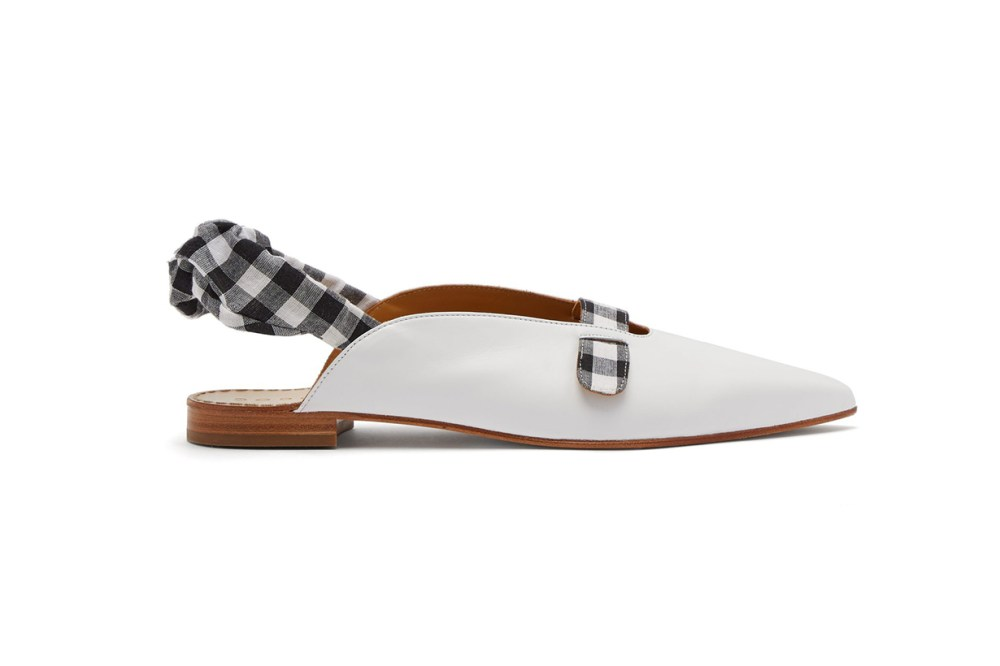 Dodo Bar Or Alonso Gingham-Slingback Leather Flats