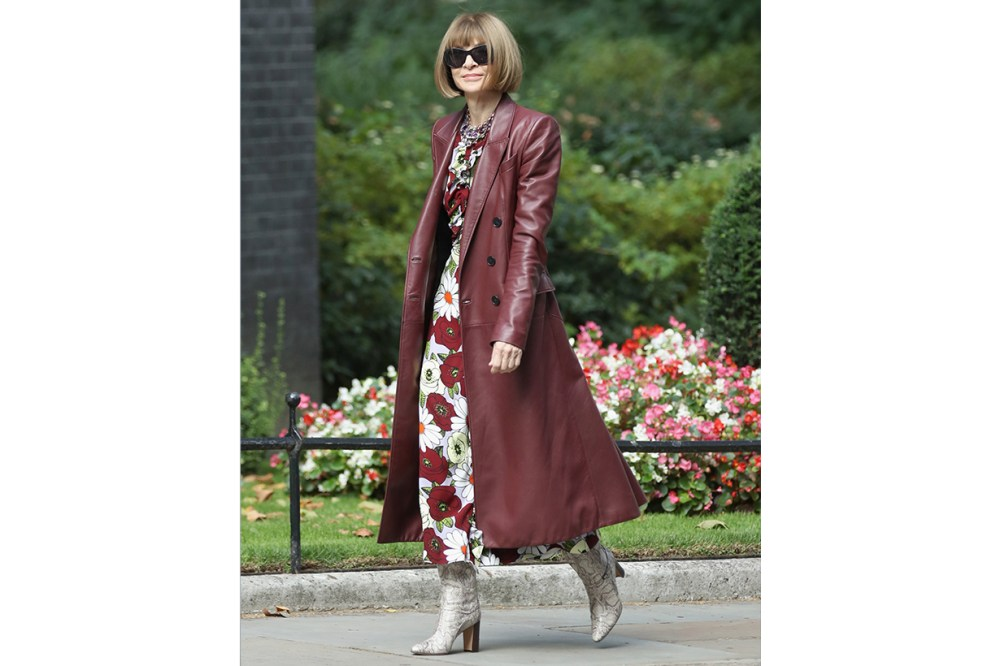 Anna Wintour Leather Trench Coat Snakeskin Boots Street Style