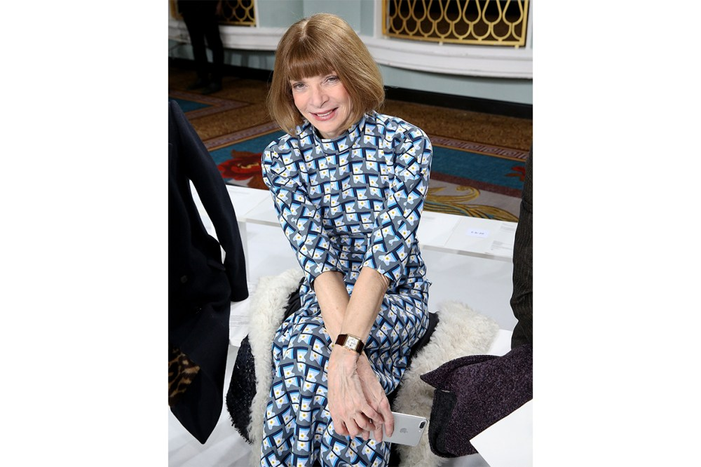 Anna Wintour Fashion Runway Front Row Printed Dress
