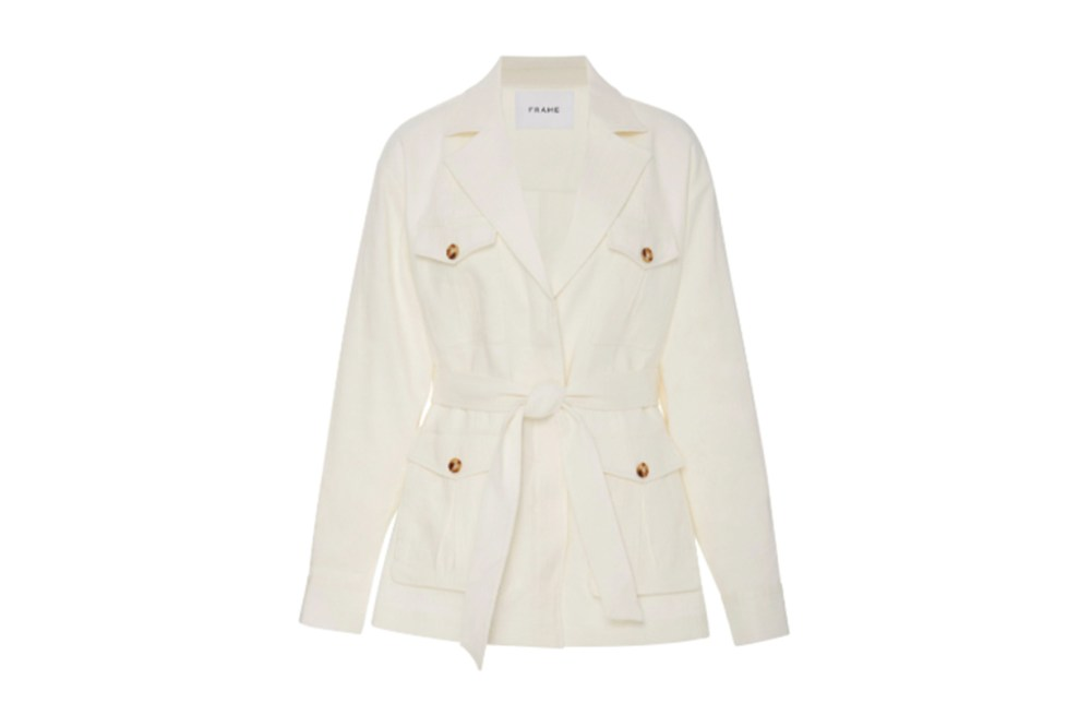 Frame Belted Cotton And Linen-Blend Jacket