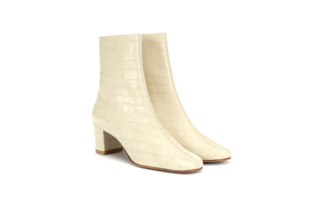By Far Sofia Embossed Leather Ankle Boots
