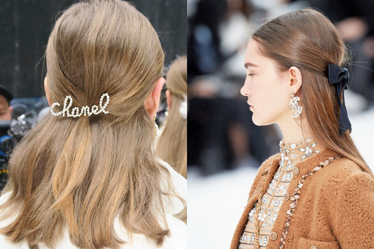 Chanel Paris Fashion Week PFW 2019 Fall Hair Clips Barrettes Hairstyles trend Sam McKnight Camelia flower Ribbon hair accessories