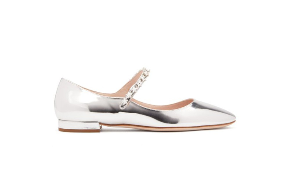 Crystal-Embellished Patent-Leather Mary-Jane Flats