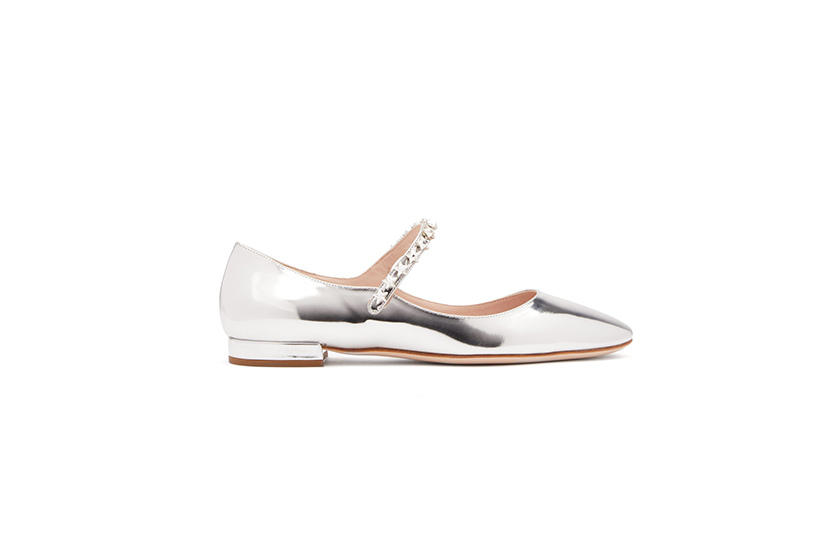 Miu Miu Crystal-Embellished Patent-Leather Mary-Jane Flats