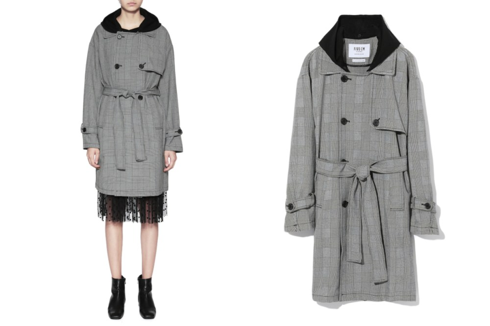 FIVE CM Hooded Tartan Trench Coat