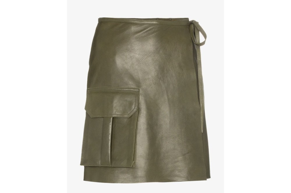 Ganni Meranti Utility Pocket Leather Wrap Skirt