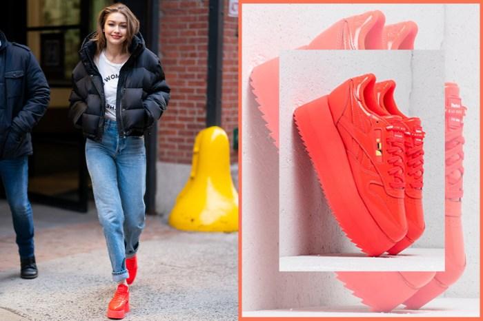 非一般的增高鞋!Gigi Hadid 親身示範自家設計的限量發售厚底波鞋