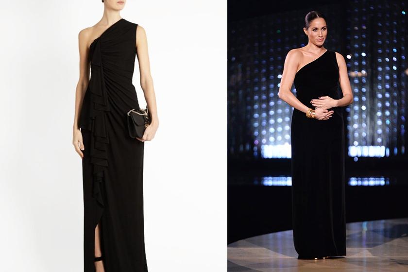 meghan-markles Givenchy-Black-One-Shoulder-Velvet-Gown black