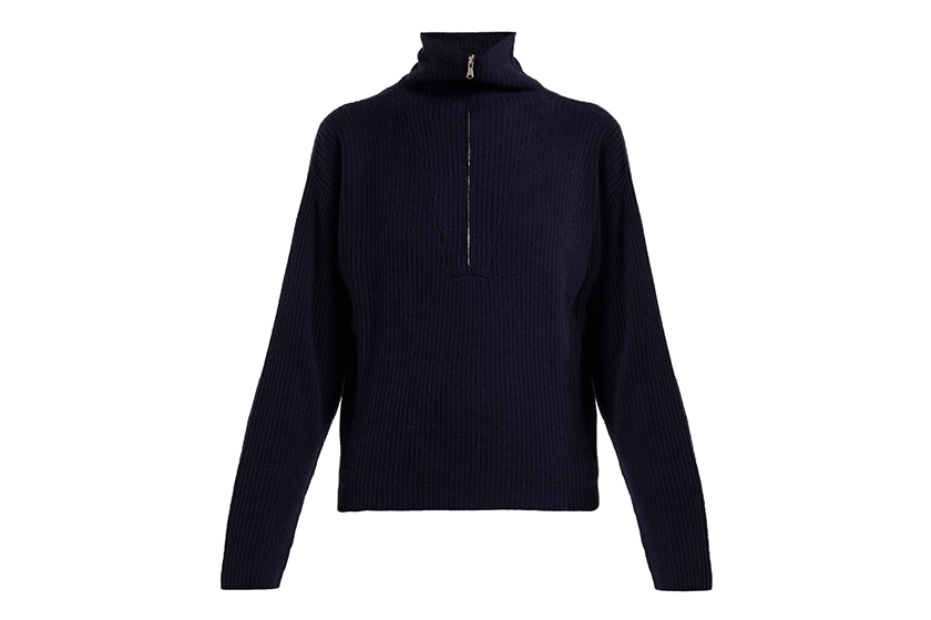 Allude Half-zip Ribbed Cashmere Sweater