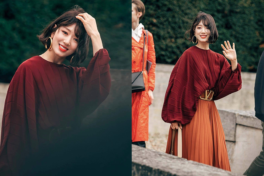 park shin hye short wavy bob hair look Paris fashion week 2019