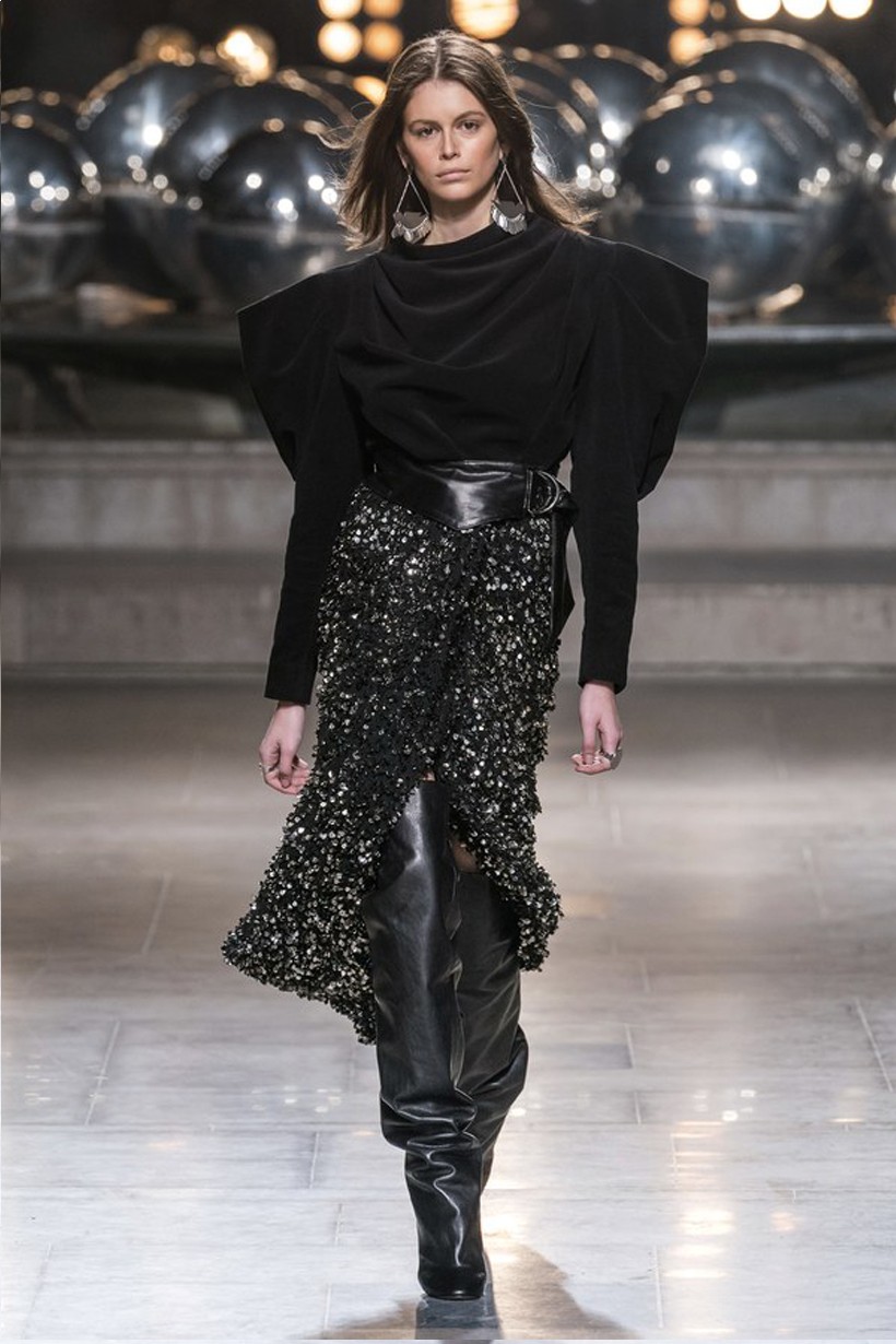 Isabel Marant 2019 Fall Winter Paris Fashion Week PFW 80s bohemian style turtle neck wrap skirt french girl