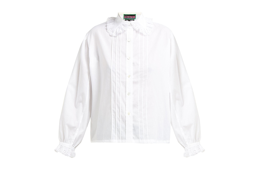La Fetiche Jane Lace Collar Cotton-Twill Blouse
