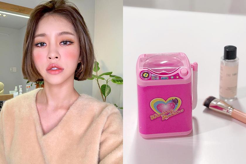 korean gir Instagram Makeup brushes clean