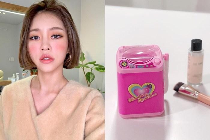 近期在韓國熱議的彩妝神器:用這台「玩具洗衣機」清洗刷具,受到廣大網友膜拜!