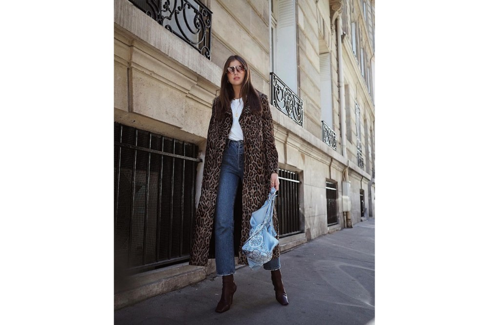 Leopard Printed Coat Jeans Street Style