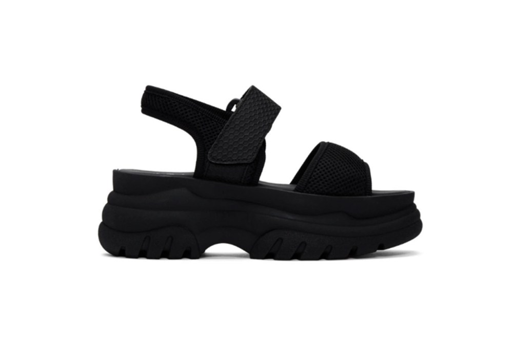 Joshua Sanders Black Mesh Spice Platform Sandals