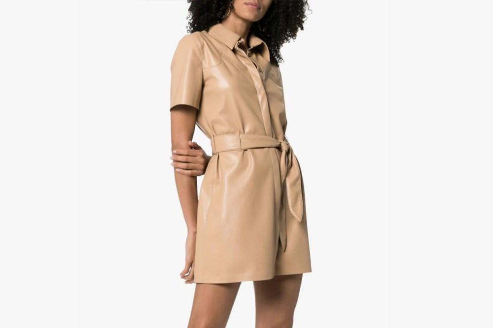 nanushka leather shirt dress