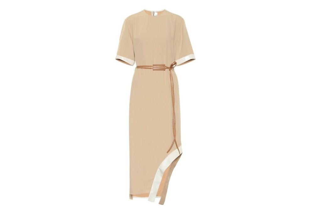 Victoria Beckham Leather-Trimmed Twill Midi Dress