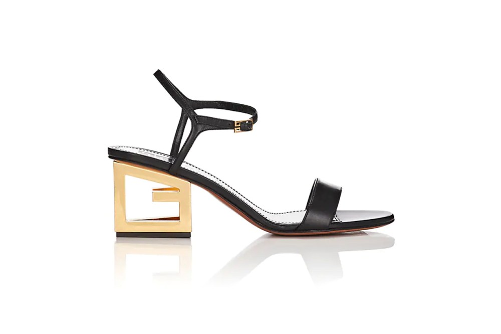 Logo-Heel Leather Sandals