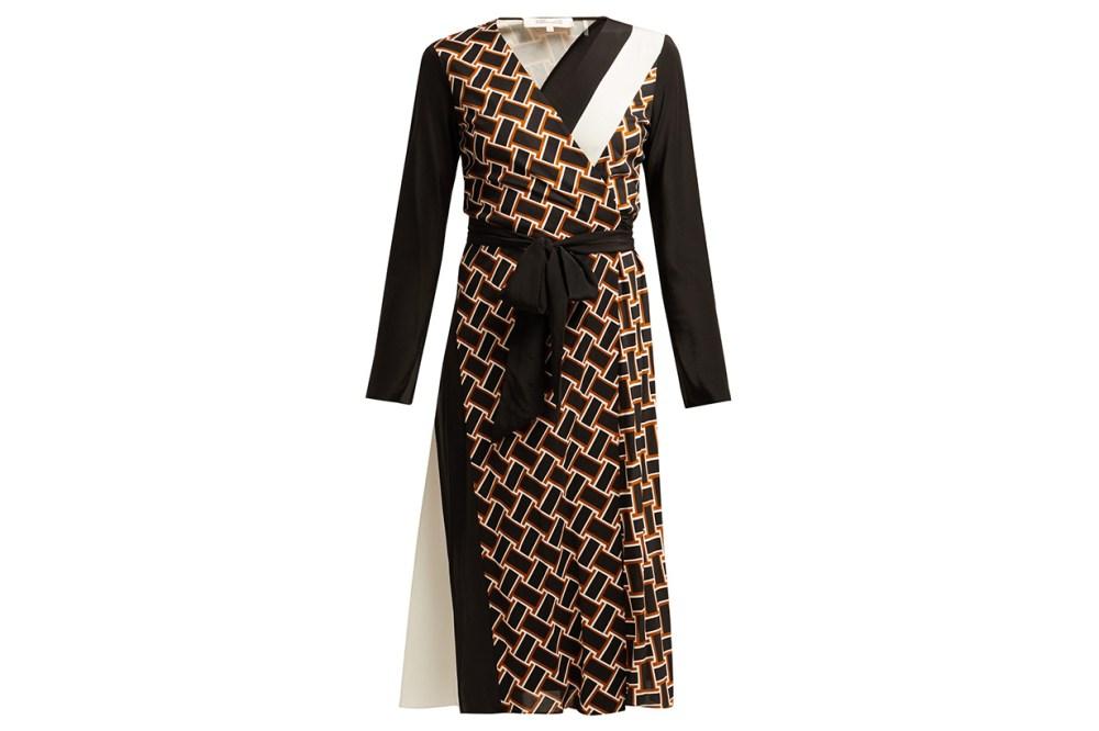 Diane Von Furstenberg Maureen Geometric-Print Silk Wrap Dress